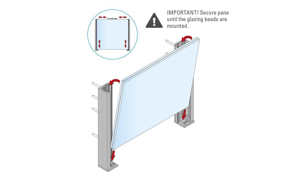 Glassline French balcony fall protection BALMERO Installation instructions step 5