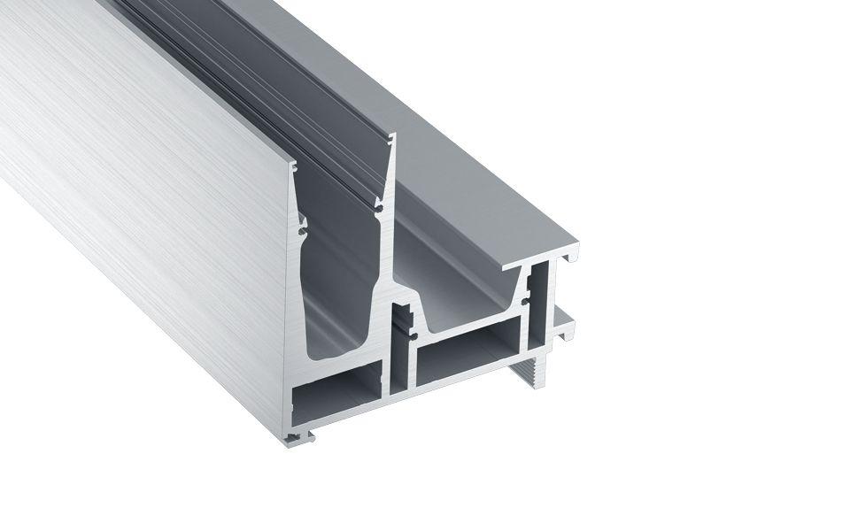 Systemprofil. Kundenspezifische Lieferlängen bis 6.000 mm, Glaseinstand ca. 100 mm