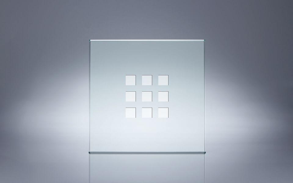 Wind- und Sichtschutz Davento von Glassline - Glasbeispiel 9 Quadrate klarsicht