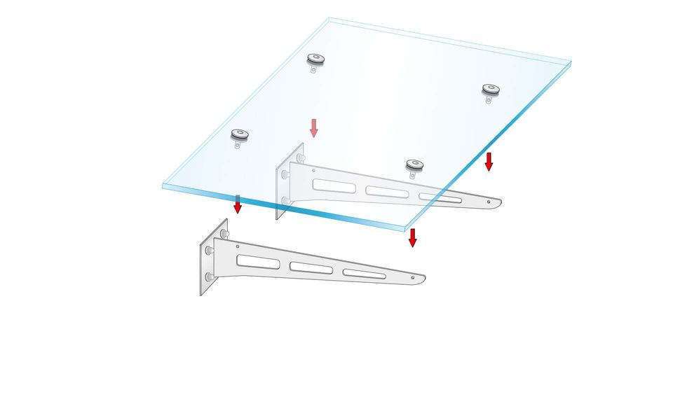 Glass canopy Canopy Blade from Glassline - placeing of the pane