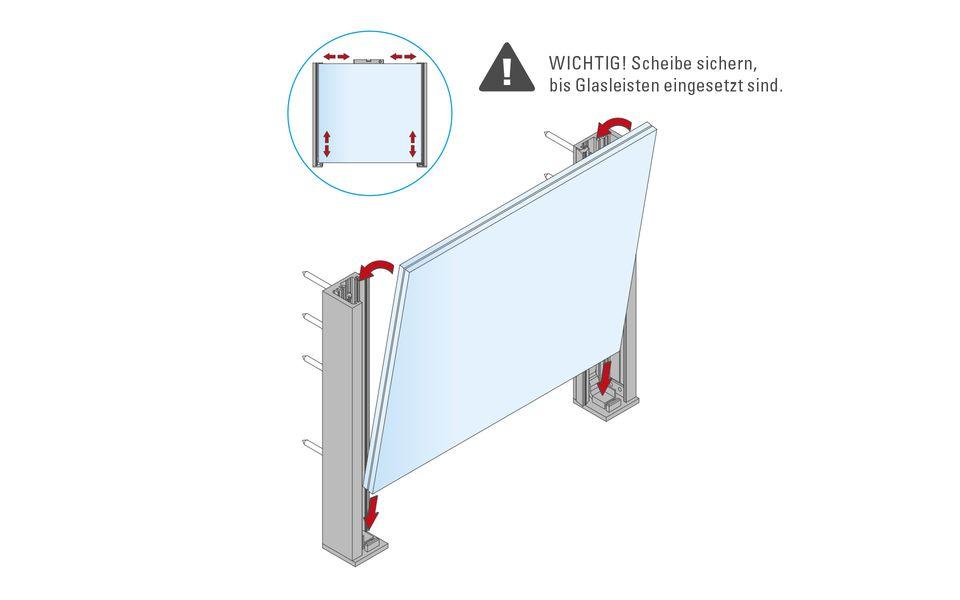 Glassline Französischer Balkon Absturzsicherung BALMERO Montage Step 5