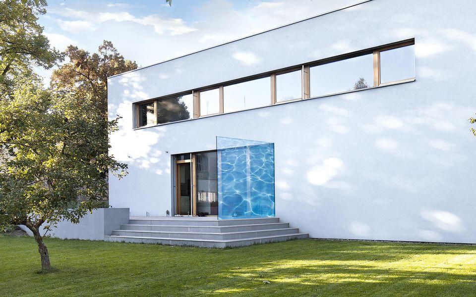Wind- und Sichtschutz Davento von Glassline - Glasbeispiel Terrasse Wassermuster