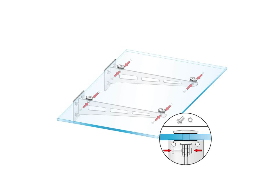 Glass canopy Canopy Blade from Glassline - secureing the point supports