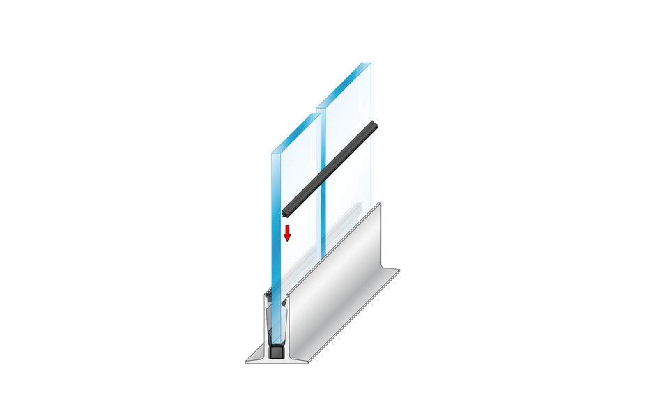 Wind- und Sichtschutz Davento von Glassline - Drücken der Innendichtung