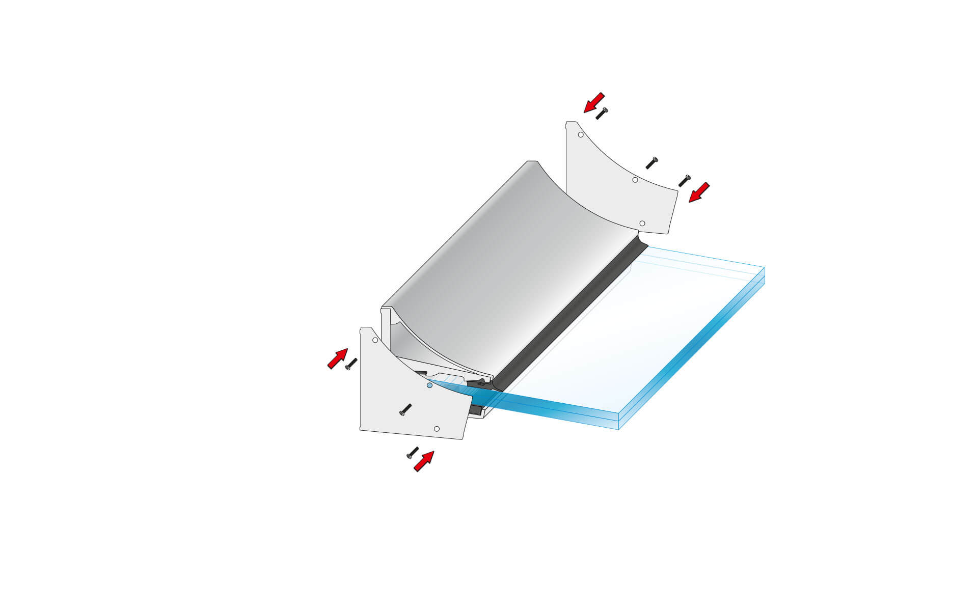 Glasvordach Canopy Cloud - freitragend mit ETA